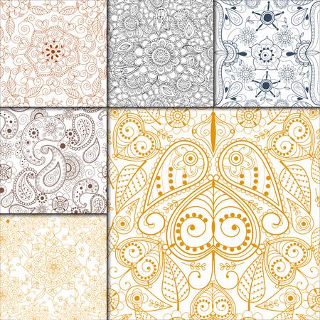 Floral mehendi pattern ornament vector illustration Ilustração