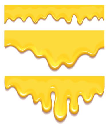 オレンジハチミツの滴と黄色のスプラッシュ健康的なシロップのセット
