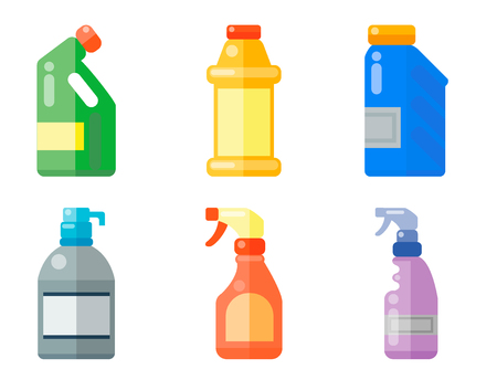Bottles of household chemicals supplies