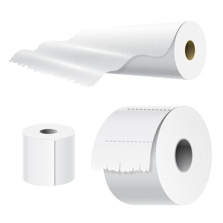 Realistisches Papierrollenspott stellte lokalisierte weiße Küchenverpackungstuchschablone der Vektorillustration 3d leere weiße ein Standard-Bild - 90628126