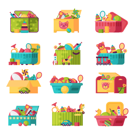 Full kid toys in boxes for kids play childhood babyroom container vector illustration