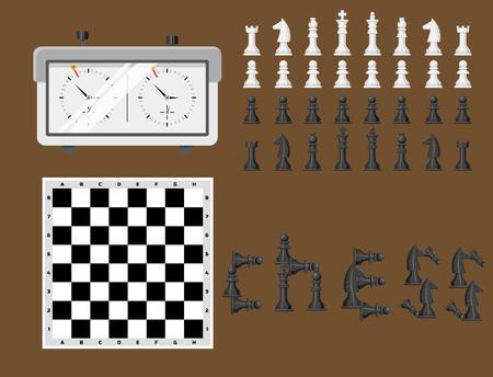 체스 판 및 chessmen 레저 개념 나이트 그룹 흰색과 검은 색 조각 경쟁 벡터 일러스트 레이션