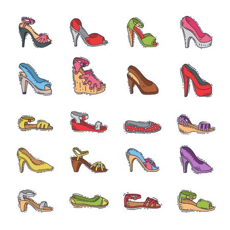 Aantal damesschoenen, hand getrokken stijl vectorillustratie.