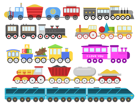 Cartoon toy train, locomotive transportation vector illustartion