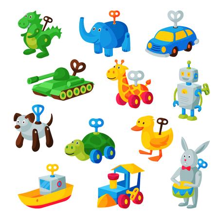 Uurwerk speelgoed sleutel vector mechanische speelkamer speelgoedwinkel mechanisme voor kinderen dier klok werk auto, trein, robot illustratie geïsoleerd op een witte achtergrond Stockfoto