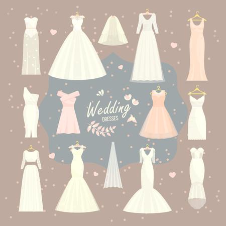 Gesetzte Brautbrautjunfer-Weißabnutzung der Brautkleider, die Brautduschenfeier der Brautkleider und der eleganten Illustration der Hochzeit der Hochzeit kleidet, dressing. Standard-Bild - 90806544