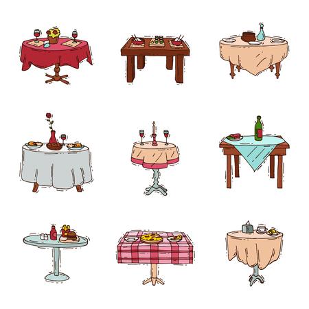 Mesas de comedor en restaurante vector conjunto almuerzo cena fecha en café con vasos de vino Italian pizza Chineese comida Ilustración de cocina oriental aislado en fondo blanco Foto de archivo - 90748769