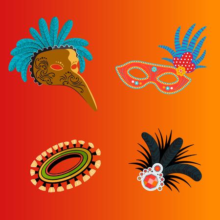 Carnival Italy and Brazil masks celebration festive carnaval masquerade background festival vector illustration.