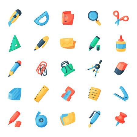 文房具アイコン オフィス供給 vectorschool ツールとアクセサリー白背景イラストに分離された教育品揃え鉛筆マーカー ペンに設定