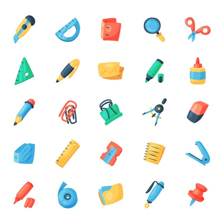 Stationery icons office supply vectorschool tools and accessories set education assortment pencil marker pen isolated on white background illustration