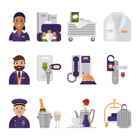 Hotel service icons vector hoteling staff waiter butler and hotelman signs bellset bell on reception illustration isolated on white background