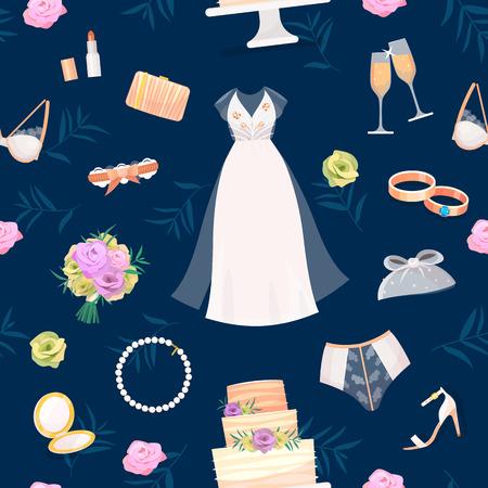Bruid accessoires vector set bruiloft items voor huwelijk ceremonie bruidsjurk, schoenen, kousenband, boeket, sluier, sieraden, ringen, koppeling, bruidstaart naadloze patroon achtergrond