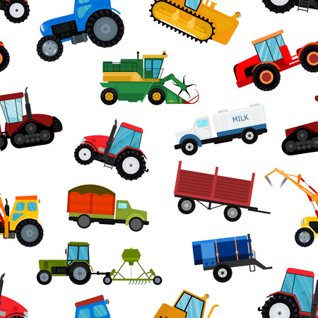 Various Agriculture tractor machine, industrial farm equipment vector illustration in seamless pattern background