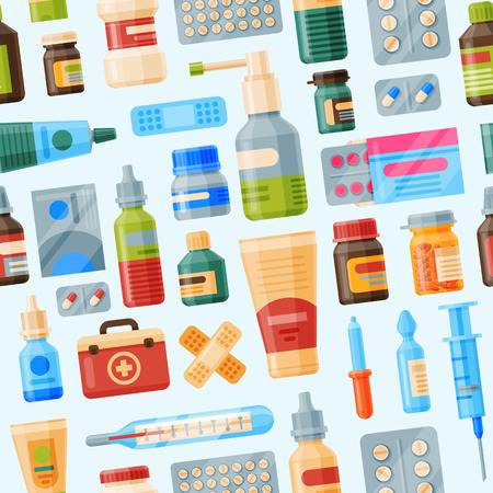 Medical instruments first-aid set outfit medicine chest and doctor tools flat medicament medication hospital health treatment vector illustration seamless pattern background Иллюстрация