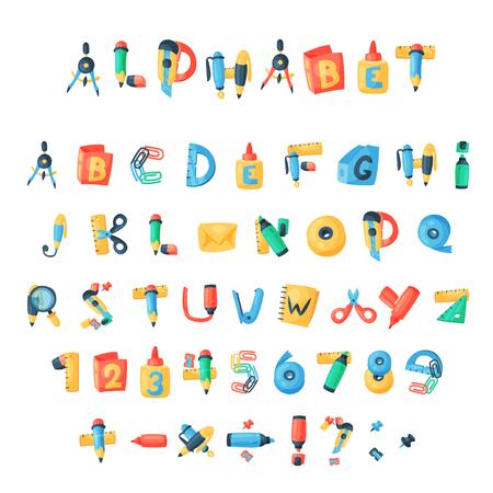 알파벳 편지지 문자 벡터 abc 글꼴 Office 공급 및 학교 도구 알파벳 아이콘 교육에 연필 또는 펜 알파벳 순으로 격리 된 흰색 배경 그림 일러스트