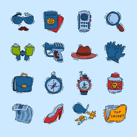 Spy icons vector cartoon detective set mafia agent binoculars or spyglass for spying or secret investigation illustration isolated on white background