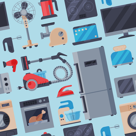 Home appliances vector domestic household equipment kitchen electrical domestic appliances technology for homework seamless pattern background