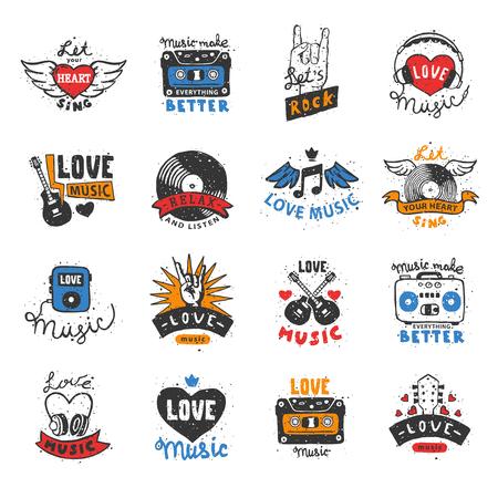Música amor coração logo vector musical batimento cardíaco música dj amante som batida logotipo fita cassete símbolo ilustração isolado no fundo branco