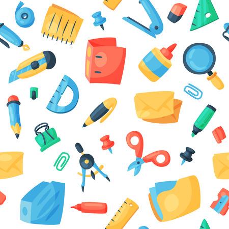 Bürozubehör vectorschool Werkzeuge und Zubehör der Briefpapierikonen stellten Bildungszusammenstellungsbleistift-Markierungsstift ein, der auf nahtlosem Musterhintergrund des weißen Hintergrundes lokalisiert wurde.