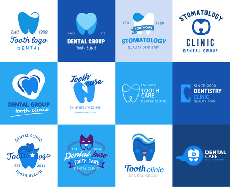Dental tooth logo vector dentist clinic logotype toothcare icon stomatology dentistry care design set illustration isolated on white background Stock Illustratie