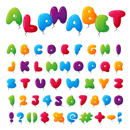 Balloon alphabet character set illustration with kids style toys colorful air balls isolated on white Birthday celebration event ABC baby design