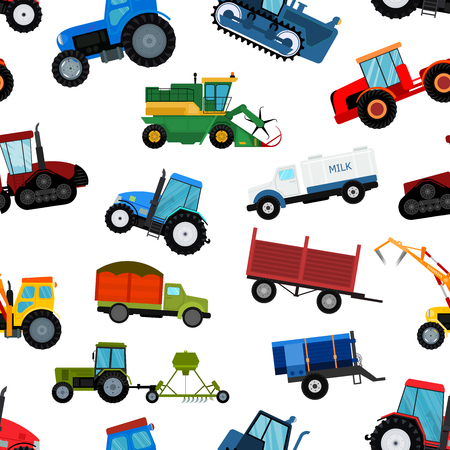 Agriculture tractor machine industrial farm equipment harvest machine tractors combines and farmers machinery excavators vector illustration seamless pattern background