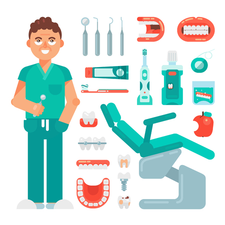 Dental Icons set vector dentist tools dentistry and orthodontics stomatology equipment toothbrush and toothpaste. Teeth cleaning Implants Illustration isolated on white background Vectores