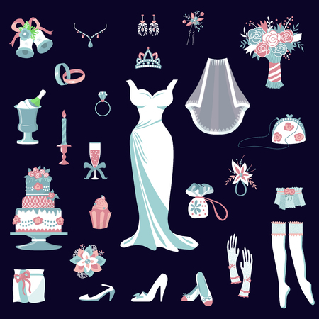 Bride accessories vector set wedding elements for design of marriage ceremony invitation card4 bridal dress, shoes, garter, bouquet, veil, jewelry, rings, clutch isolated illustration Illustration