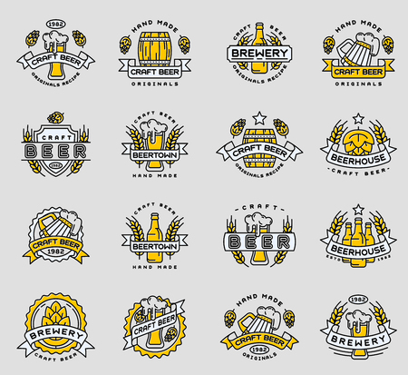 Beer icon badges vintage craft old fashion drink beer bottles company icons illustration isolated