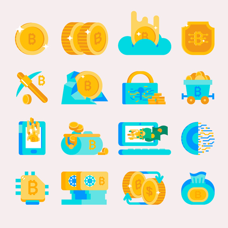 Bitcoin mining money icons vector finance internet business bit virtual crypto currence blockchain cryptocurrency coins traiding investment illustration exchange concept