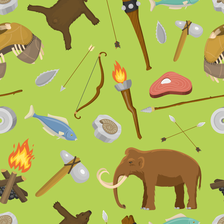 Stone age seamless pattern, vector illustration.