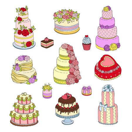 Wedding cake set vector illustration wed celebration birthday party cake decorations cream dessert with wedding flowers isolated on white.