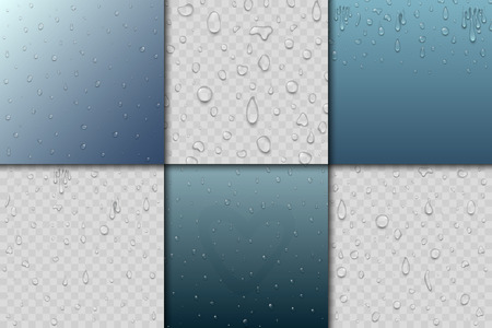 Realistic pure and transparent water drops, splash liquid, moisture background. Vector illustration wet light abstract, macro fresh raindrop bubble. Refreshing art environment.