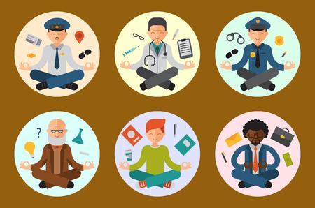 illustration of yoga pose meditation. Illustration