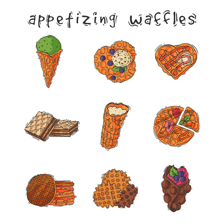 Different wafer cookies waffle cakes pastry cookie biscuit delicious snack cream dessert crispy bakery food illustration.