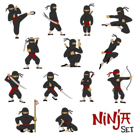 ●白い背景に隔離された戦闘アクションで様々なポーズで漫画キャラクター忍術の忍者ベクトル戦士セット。
