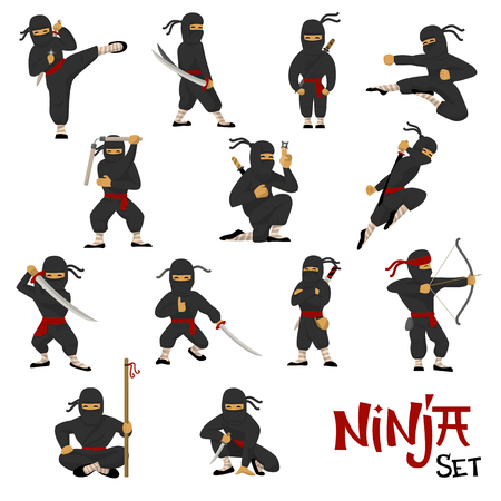Ninja vector warrior set of cartoon character ninjitsu in various poses samurai in fighting action isolated on white background.