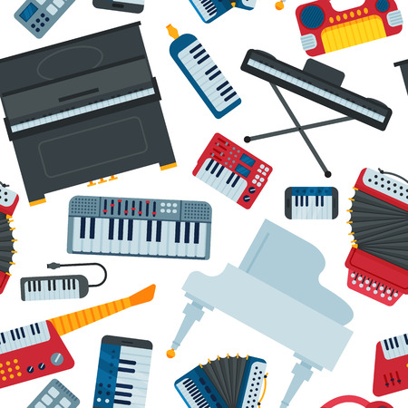 Instrument-Musikerausrüstung der Tastaturklaviermusikvektormusik und nahtloser Musterhintergrund der elektronischen soliden Musikerillustration des Orchesterklavierkomponisten Standard-Bild - 91665057
