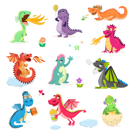 Dragon cartoon cute dragonfly dino character baby dinosaur for kids fairytale dino illustration isolated on white background