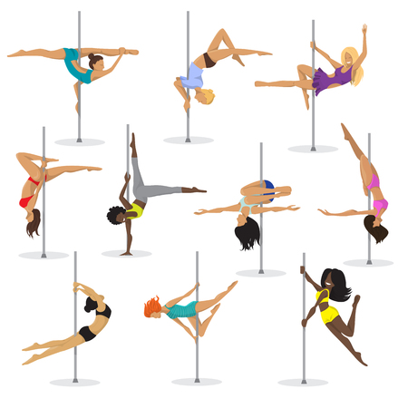 Pole dance girl vector set woman pole dance dancer fitness pose stripper posing and dancing illustration isolated on white background. Vettoriali
