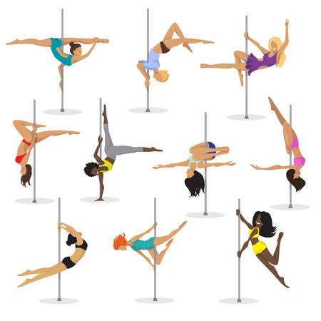 Vetor de garota de pole dance conjunto mulher pole dance dançarina fitness pose stripper posando e dançando ilustração isolado no fundo branco. Foto de archivo - 91375322
