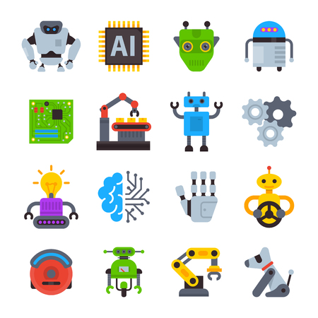 Robot icons vector set robotic machine technology cyborg cartoon character AI artificial Intelligence robotechnic illustration isolated on white background.