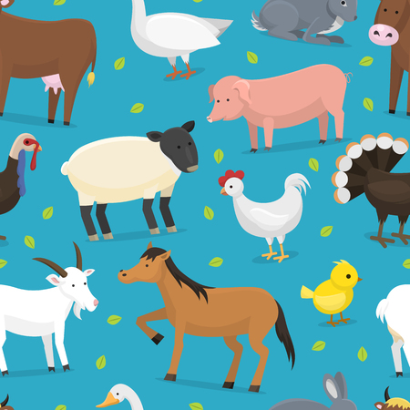 Farm vector animals domestic characters cow, chicken, pig, turkey, chuck, horse and sheep farmer animals set illustration farming seamless pattern background Illustration