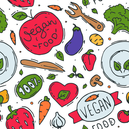 Vegetarian food vector symbol vegan eco organic farm products veggie health-food badge hand drawn bio healthy set illustration seamless pattern background. Иллюстрация
