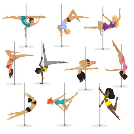 Pole dance girl vector set. Woman pole dancer on white background.