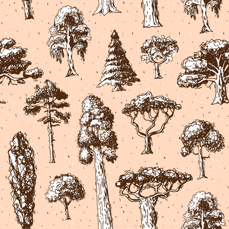 Tree types vector green forest pine treetops collection of birch, cedar and acacia or realistic greenery garden with palm and sakura illustration seamless pattern background.