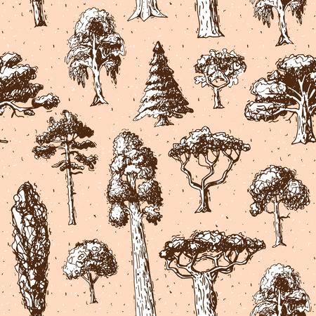 나무 종류 벡터 녹색 숲 소나무 나무 자작 나무, 삼나무와 아카시아 또는 현실적인 녹지의 컬렉션 야자수와 사쿠라 일러스트 정원 원활한 패턴 배경