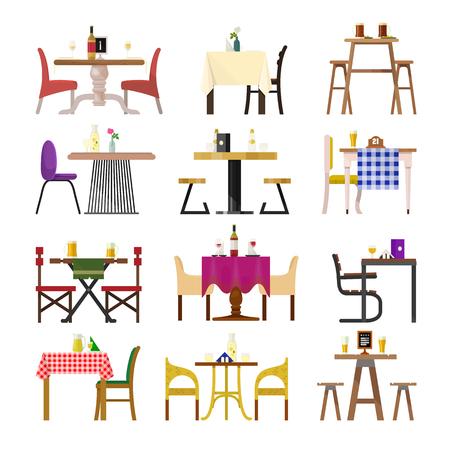Koffielijsten in restaurant die vector die het dineren meubilairlijst en stoel plaatsen voor de romantische datum van het lunchdiner in cafetariaillustratie op witte achtergrond wordt geïsoleerd.
