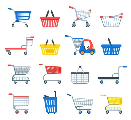 Shopping cart vector shop pushcart trolley shopper or carter with empty basket and bag buy in store illustration isolated on white background  イラスト・ベクター素材