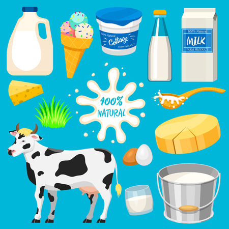 Dairy milk products illustration